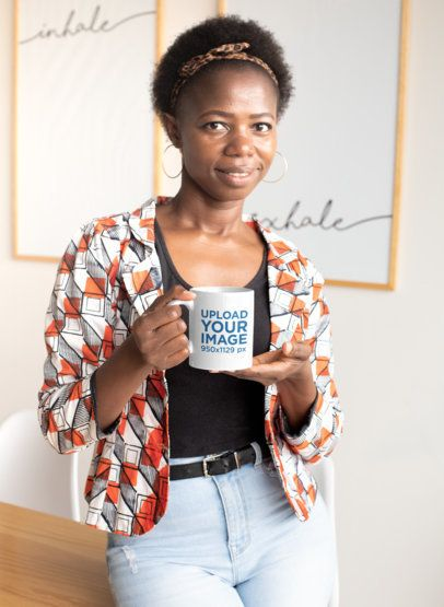 11 oz Coffee Mug Mockup Featuring a Short-Haired Woman at Home 30325
