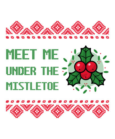 Ugly Christmas T-Shirt Design Generator Featuring a Mistletoe Clipart