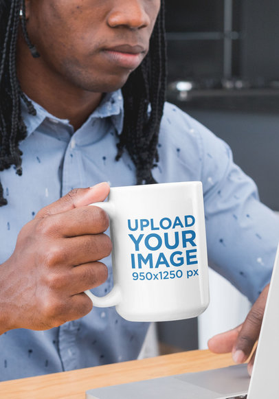 Cropped Face Mockup of a Man Drinking from a 15 oz Coffee Mug 30308