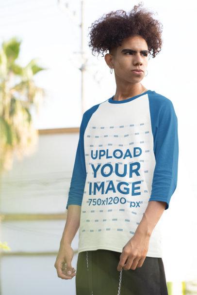 Three-Quarter Sleeves Raglan Tee Mockup of a Young Man Posing