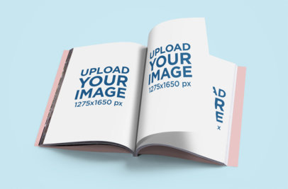 Open Magazine Mockup Featuring a Colored Background 1090-el