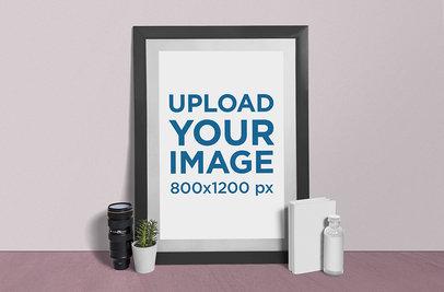 Photo Frame Mockup Featuring a Camera Lens and a Plant Pot 888-el