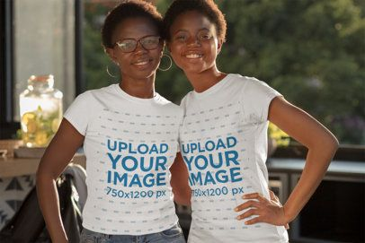 Mockup of a Mother a Her Daughter Wearing Matching T-Shirts 30623
