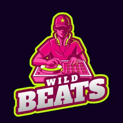 Logo Creator for DJs Featuring an Illustrated Disc Jockey 2661l-2694