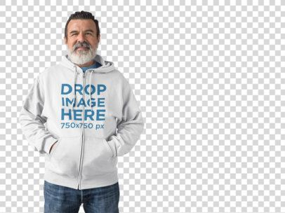 Hoodie Mockup of an Elder Man Over a White Background a11309