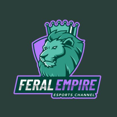 Gaming Logo Template Featuring a Lion with a Crown 2704h