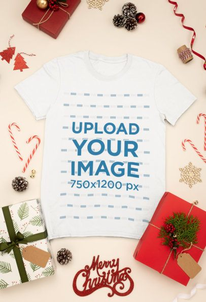 Mockup of a T-Shirt Surrounded by Christmas Presents and Decorations 30632