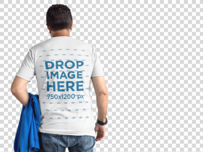 Back of a Senior Man Wearing a Round Neck Tee Mockup Holding a Blue Hoodie Facing a Transparent Backdrop a11308b