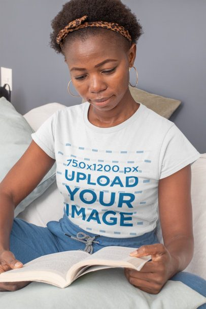 T-Shirt Mockup of a Short-Haired Woman Reading 30334