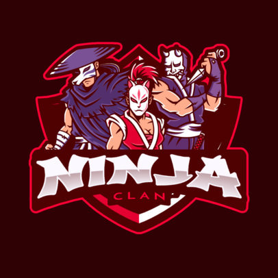 Logo Maker for a Gaming Squad with Ninja Illustrations 2720