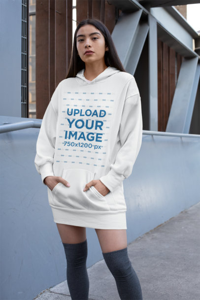 Mockup of a Woman Wearing a Hoodie Dress 30509