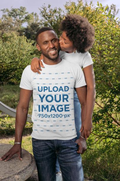 T-Shirt Mockup of a Woman Kissing Her Boyfriend 30608