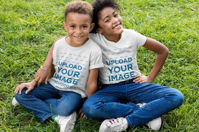 Mockup of Two Siblings with Customizable T-Shirts Hugging 30591