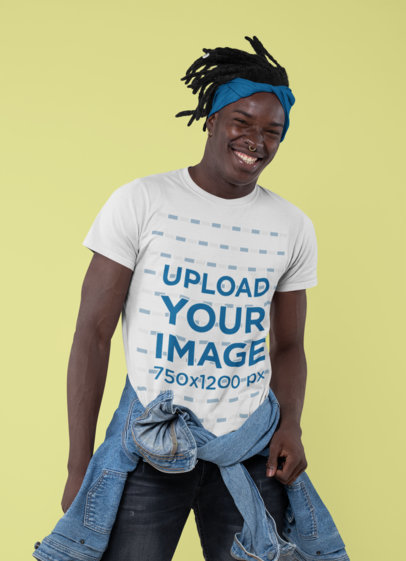 Crew Neck T-Shirt Mockup of a Joyful Man Posing at a Studio 30544a