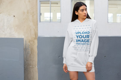 Hoodie Dress Mockup of a Young Woman with Long Hair 30513