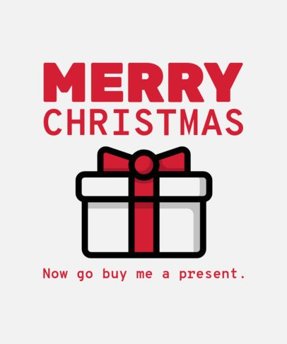 Cool Christmas T-Shirt Design Template Featuring a Present Clipart 31a-el