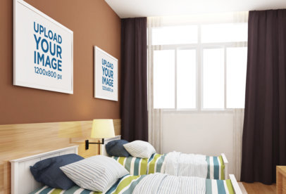 Mockup of Two Decorative Art Prints over a Bedroom Wall