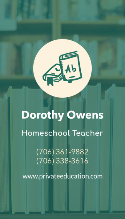Business Card Maker for a Homeschool Teacher 573f 38-el