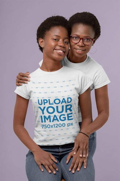T-Shirt Mockup of Mother and Daughter in a Studio 30616