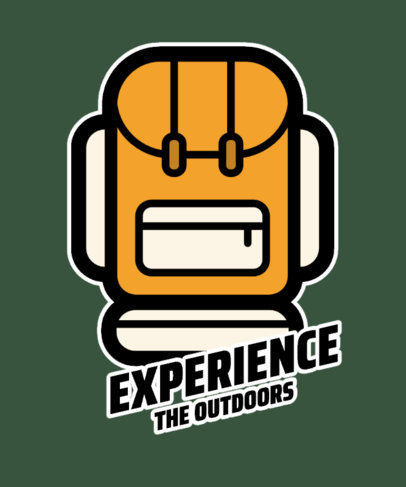 T-Shirt Design Template for Outdoor Activities Enthusiasts with a Backpack Graphic 26a-el