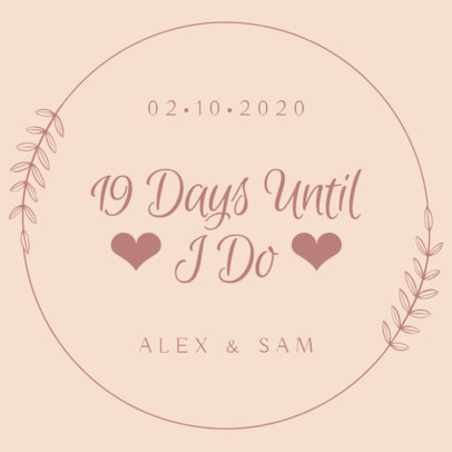 Instagram Post Template for a Wedding Countdown 1998b