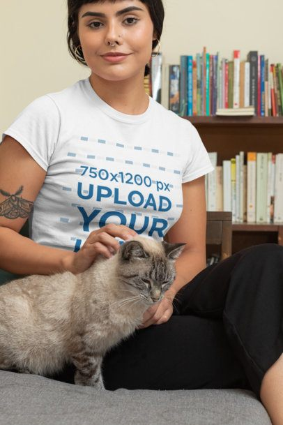T-Shirt Mockup of a Woman Petting Her Cat 30672
