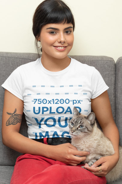 T-Shirt Mockup of a Woman Posing with Her Cat 30676