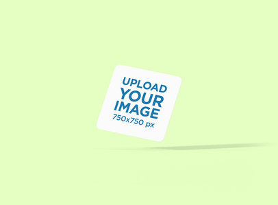 Mockup of a Squared Coaster Floating in a Plain-Color Background 1221-el