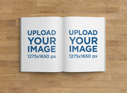 Mockup of an Open Magazine Placed on a Wooden Surface 1155-el