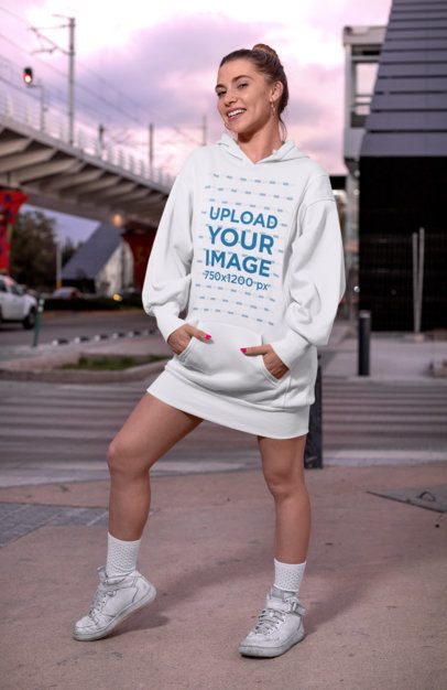 Mockup of a Woman Wearing a Hoodie Dress in the City 30576
