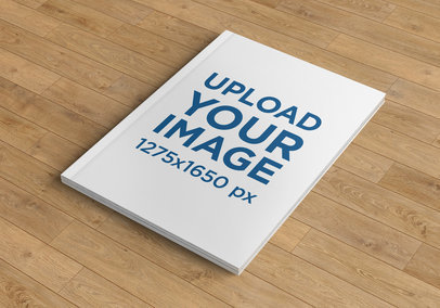 Mockup of a Broad Magazine on a Wooden Surface 1156-el