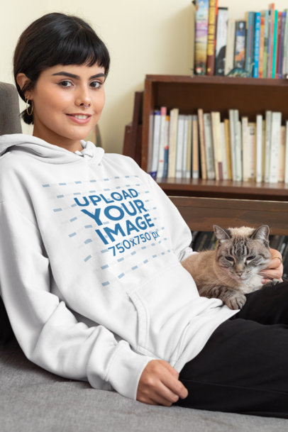 Pullover Hoodie Mockup of a Woman Chilling with Her Cat 30671