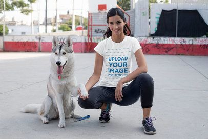 T-Shirt Mockup of a Woman Training Her Dog 30655