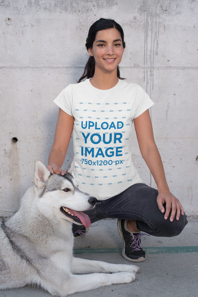 Crew Neck T-Shirt Mockup of a Woman Crouching Next to Her Dog 30656