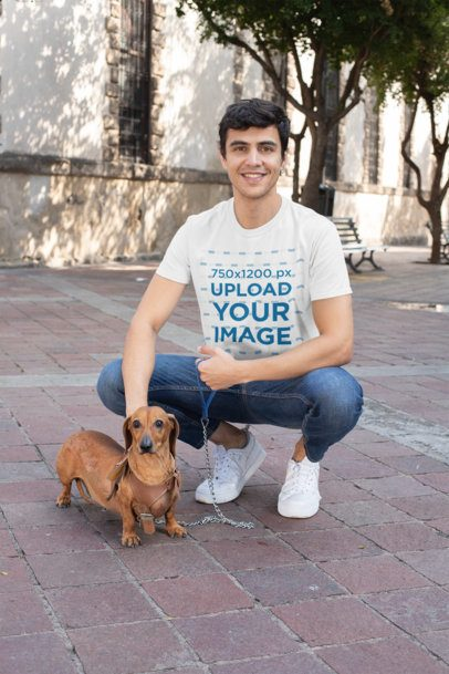 T-Shirt Mockup of a Man Taking His Dog for a Walk 30682