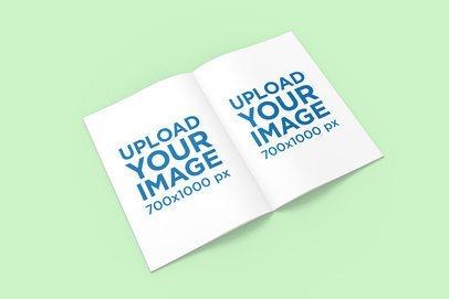 Open A4 Magazine Mockup Featuring a Colored Backdrop 1272-el