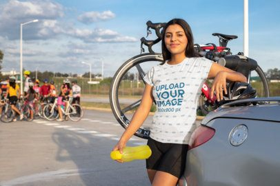 T-Shirt Mockup Featuring a Female Cyclist 30799