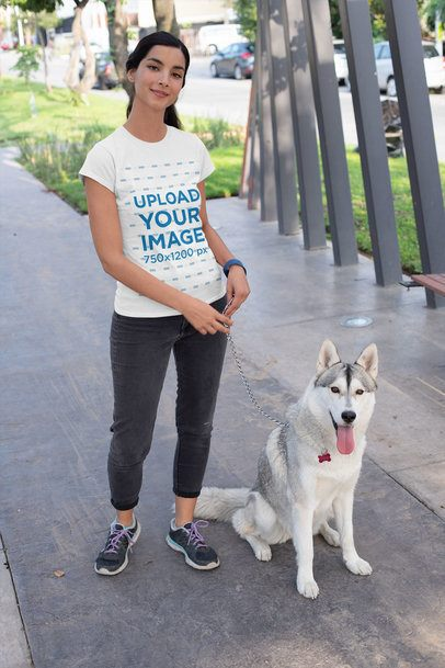 T-Shirt Mockup of a Woman Walking Her Husky 30653