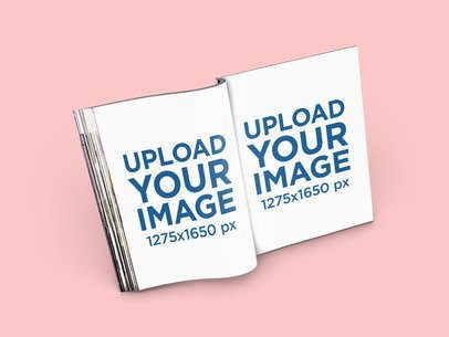 Mockup of an Open Magazine Standing at a Color-Customizable Setting 1105-el