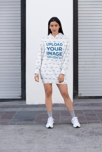 Mockup of a Sporty Woman Wearing a Sublimated Hoodie Dress 30526