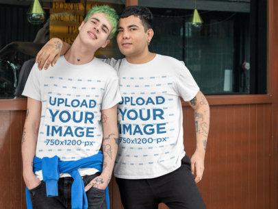 Mockup of an LGBT Couple Wearing T-Shirts 30433