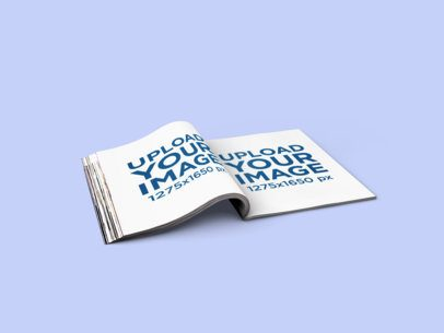 Mockup of an A4 Magazine Wide Open in a Minimalistic Scenario 1106-el