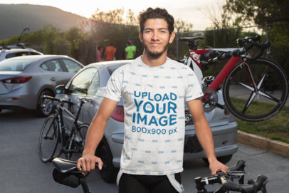 Sublimated Tee Mockup Featuring a Cyclist Posing with a Bike 30801