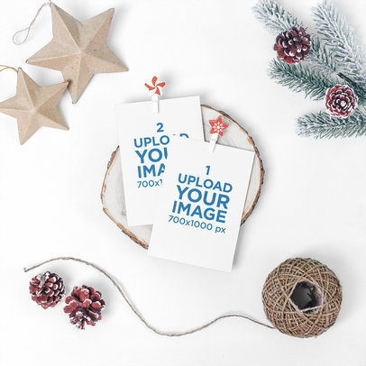 Christmas Mockup Featuring Two Postcards Placed by Some Holiday Decorations 1258-el