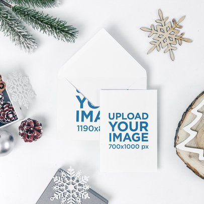 Xmas Card Mockup Featuring an Envelope and Holiday Decorations 1255-el