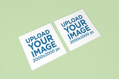 Mockup of Two Greeting Cards Placed Side by Side in a Minimalistic Setting 1120-el