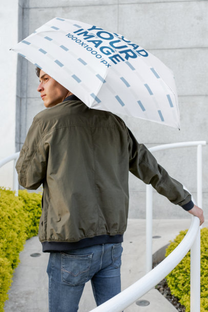 Umbrella Mockup of a Man Facing Backwards 30722