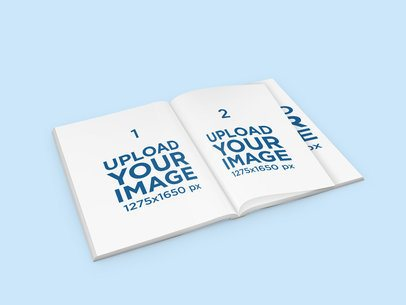 Mockup of an Open Magazine with a Plain-Color Background 1111-el