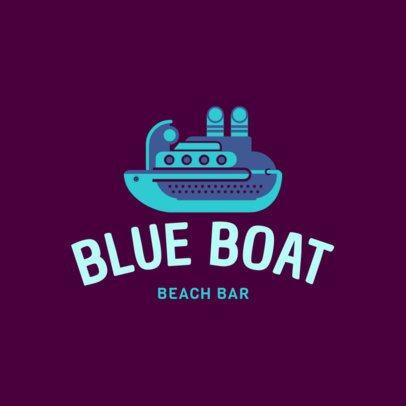 Beach Bar Logo Maker Featuring a Cruise Ship Clipart 1760m 138-el