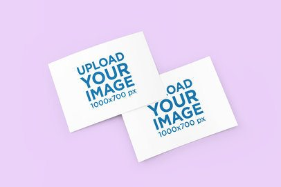 Mockup of Two Customizable Greeting Cards 1123-el